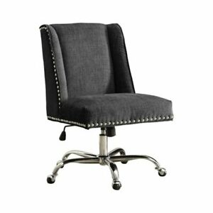 Bowery Hill Armless Upholstered Office Chair In Charcoal
