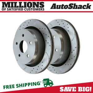 Rear Performance Drilled Slotted Brake Rotors Pair 2 For 13 18 Dodge Ram 1500