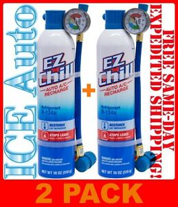 2 Pack Ezchill Air Conditioning Refrigerant Oil Acpro R 134a 18 Oz Cans Mac134