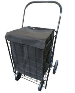 Shopping Cart With Liner Extra Large Heavy Duty Grocery Laundry Folding Seniors