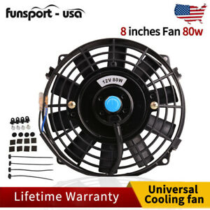 8 Inch Push Pull Universal 12v Electric Radiator Cooling Fan Kit Slim 1350cfm