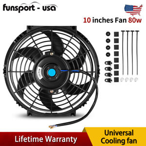 Universal 10 Slim Fan Push Pull Electric Radiator Cooling 80w For Mercury Cougar