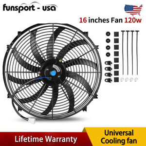 16in Electric Radiator Cooling Slim Fan Push Pull Assembly 2250rpm Reversible