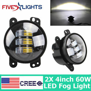 2x 4inch 60w Round Led Fog Light Driving Working Off Road Lamp For Jeep Jk Cj Tj