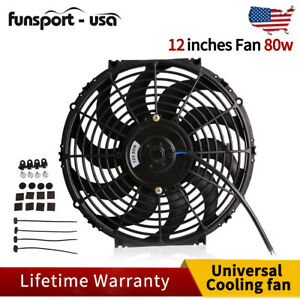 12 Inch 2150cfm Universal Slim Pull Push Radiator Cooling Fan 12v Mount Kit Us