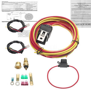 165 To 185 Dual Electric Fan Relay Wiring Harness Thermostat Sensor 40a Kit