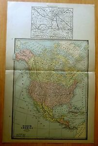 Antique Map 1886 North America 21 X 13 1 2
