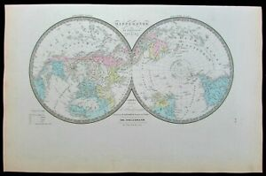 World Map Hemispheres Polar Projection Continents C 1875 Old Antique Color Map