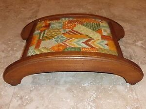 Victorian Wooden Footstool Foot Rest With Quilted Hand Embroidered Wool Top
