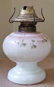 Vintage Tiny Little Pressed Milk Glass Fluid Lamp Vgc Cute Tiny Lamp