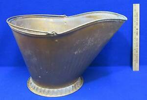 Metal Bucket Coal Scuttle Ash Pail Handle Painted Gold Galvanized Steel Vintage