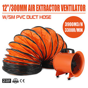 12 Extractor Fan Blower Ventilator 5m Duct Hose Industrial 300mm Us Stock