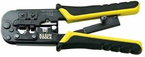 Klein Tools Ratcheting Modular Phone Data Cable Connector Crimper wire stripper