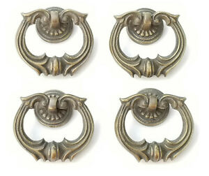 4 Ornate Handles Pulls W Detailed Drop Ring Antique Vintage Style 1 3 4 H10