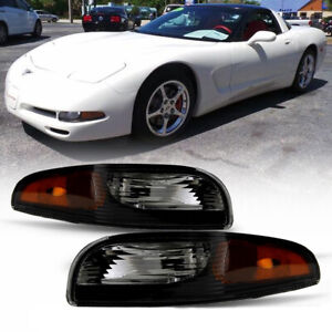 Black 97 04 Chevy Corvette C5 Replacement Front Bumper Light Amber Signal Lamp