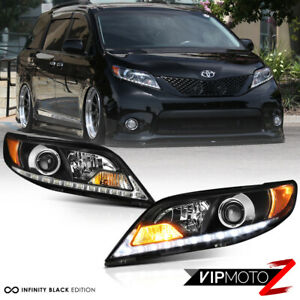 Led Strip Drl For 11 17 Toyota Sienna L Le Xle Black Headlight Set Replacement