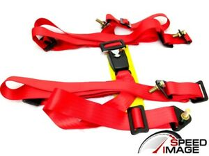 Nrg Red 4 Point 2 Inch Racing Seat Belt Harness Safety Belt Sbh 100rd