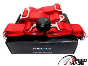 Nrg Red 4 Point Racing Seat Belt Harness Safety Belt Cam Locks Sbh 4prd