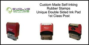 Self Inking Custom Made Rubber Stamps Personalised Bespoke D sided Ink Pads