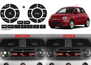 Peeling Radio Button Repair Stickers For 2011 2016 Fiat 500 New Free Shipping