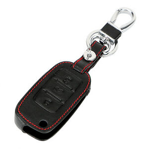 1x Leather Car Remote Control Key Cover Keychain Bag Case For Volkswagen Golf