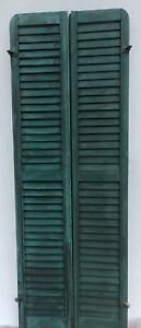 Antique Pair Rounded Arched Wood Louvered Shutter Shabby Vtg Chic 07 17p