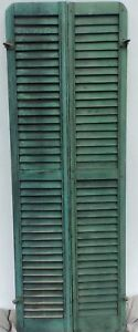 Antique Pair Rounded Arched Wood Louvered Shutter Shabby Vtg Chic 11 17p