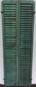 Antique Pair Rounded Arched Wood Louvered Shutter Shabby Vtg Chic 16 17p