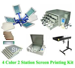 Full Set 4 Color 2 Station T shirt Screen Printing Kit Press Printer Machine