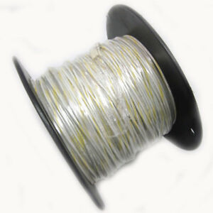 New Approx 600 Ft 18awg White Hook Up Wire W Yellow Stripe 300v Electrical