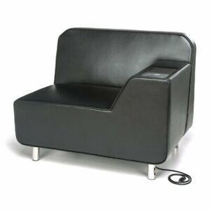 Ofm Serenity Left Arm Electrical Outlet Guest Chair In Tungsten