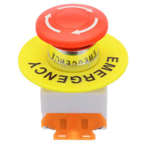 Red Mushroom Cap 1no 1nc Dpst Emergency Stop Push Switch Button 660v 10a Lay37