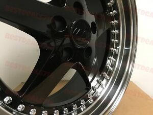 Four 18 Black Equip Style Rims Fits Honda Accord Civic Si 5x114 3 Staggered