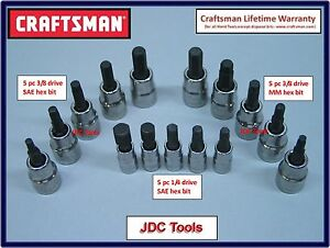 Craftsman Tools 15 Pc 1 4 3 8 Sae Metric Hex Allen Key Bit Socket Set