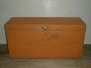 Antique Pumpkin Color Painted Dome Lid Immigrants Trunk