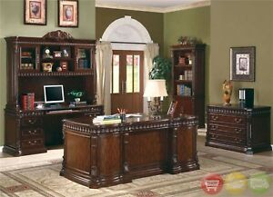 Union Hill 3 Piece Executive Desk Credenza Hutch Wood Home Office Furniture Set