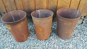 Antique 3 Maple Syrup Old Tin Sap Rusty Look Buckets 13 High