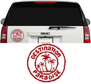 Destination Paradise Hawaii Florida Ocean Palm Tree Decal Sticker 8 Inch Dk Red