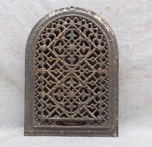 Antique Cast Iron Arch Top Dome Heat Grate Wall Register Gothic Vtg 12x8 48 17p