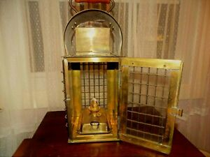 Crisfield Md Nautical C 1900 Brass Wedge Ship Caged Kerosene Lantern Oil Lamp