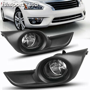 For 2013 2015 Nissan Altima Sedan 4dr Clear Fog Lights Lamps Kit Switch Harness