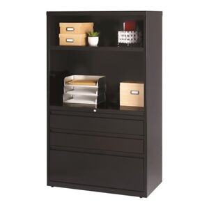 Filing Cabinet File Storage Hirsh 3 Drawer Lateral In Black Transitional