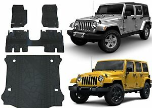Front Rear Cargo Slush Floor Mats For 2007 2017 4 Door Jeep Wrangler Jk New