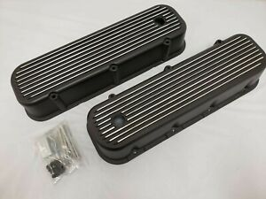 New Bbc Big Block Chevy Tall Black Finned Valve Covers Aluminum 396 427 454 Tall