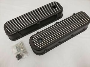 Bc Big Block Chevy Tall Black Finned Valve Covers Aluminum 396 427 454 Tall