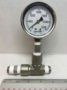 Ashcroft Gauge 0 3000 Psi Soldered Bronze Tube Brass Socket 1008