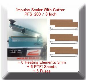 8 Pfs200 Hand Impulse Sealer With Cutter 6 Sealing Elements 6 Ptfi Sheets