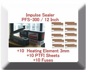 Pfs 300 12 Hand Impulse Sealer With 10 Heating Elements 10 Ptfi Sheets