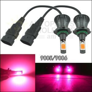 2pcs Led Light 9005 9006 Pink Purple Cob Bulb Still Flash Mode Kit Fog Light Car