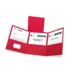 Oxford 59811 Tri fold Folder W 3 Pockets Holds 150 Letter size Sheets Red